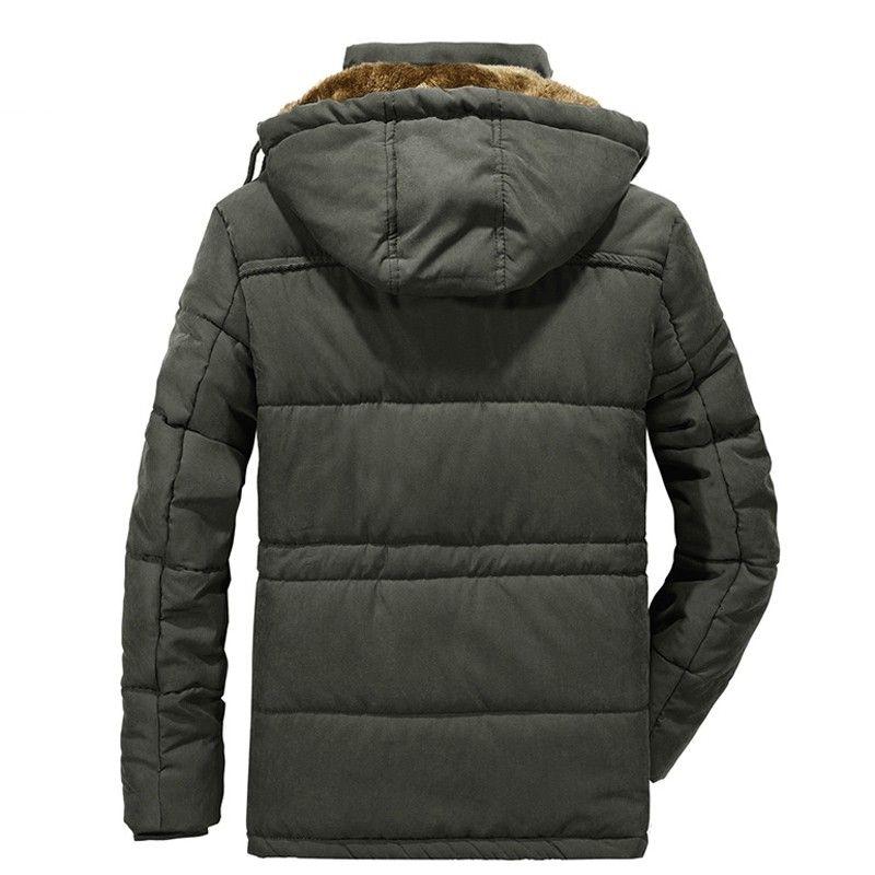 Parka Herren Winter-Fleece-Jacke mit Fell Große Größe 8XL verdicken Baumwolle gefütterte Multi-Taschen mit Kapuze Windjacke Hunting Coats
