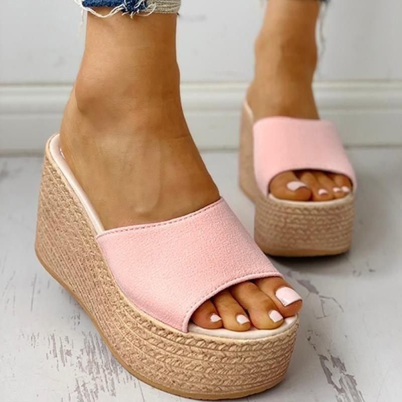 Women Platform Sandals Wedge Shoes For Ladies High Heels Peep Toe Beach Shoes Casual Comfortable Slip On Slippers Chaussures New