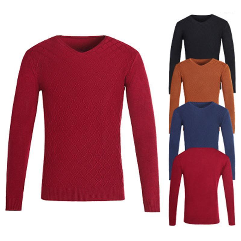 Designer Solid Color lose Langarm Bekleidung Mode Male Formal beiläufige dünne Strickjacke-Kleid-Herbst-Mann mit V-Ausschnitt Pullover