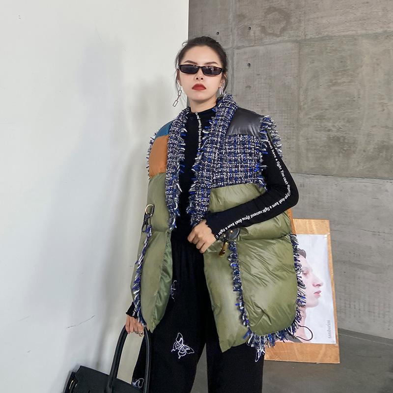 Женские жилеты 2021 мода короткая теплая зимняя куртка без рукавов плюс размеры хлопок мягкий жилет женщина толстая женская одежда большая