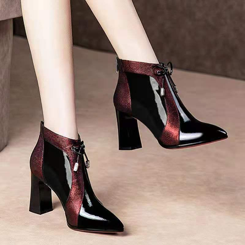 2020 Neue Frauen High Heel Knöchelstiefel Herbst / Winter warme Schuhe Frau spitzte Tehe Chunky Heel Wein blau-rot Farbe Matching