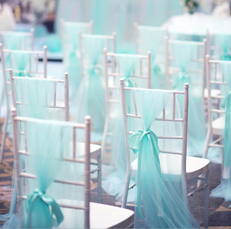 Playa Garden Silla de boda al aire libre Cubiertas Cubiertas 18 * 275cm Cinta Organza Corbata Bowknot 2021 Fiesta de moda Decoraciones de eventos Cinturón de silla Al8466