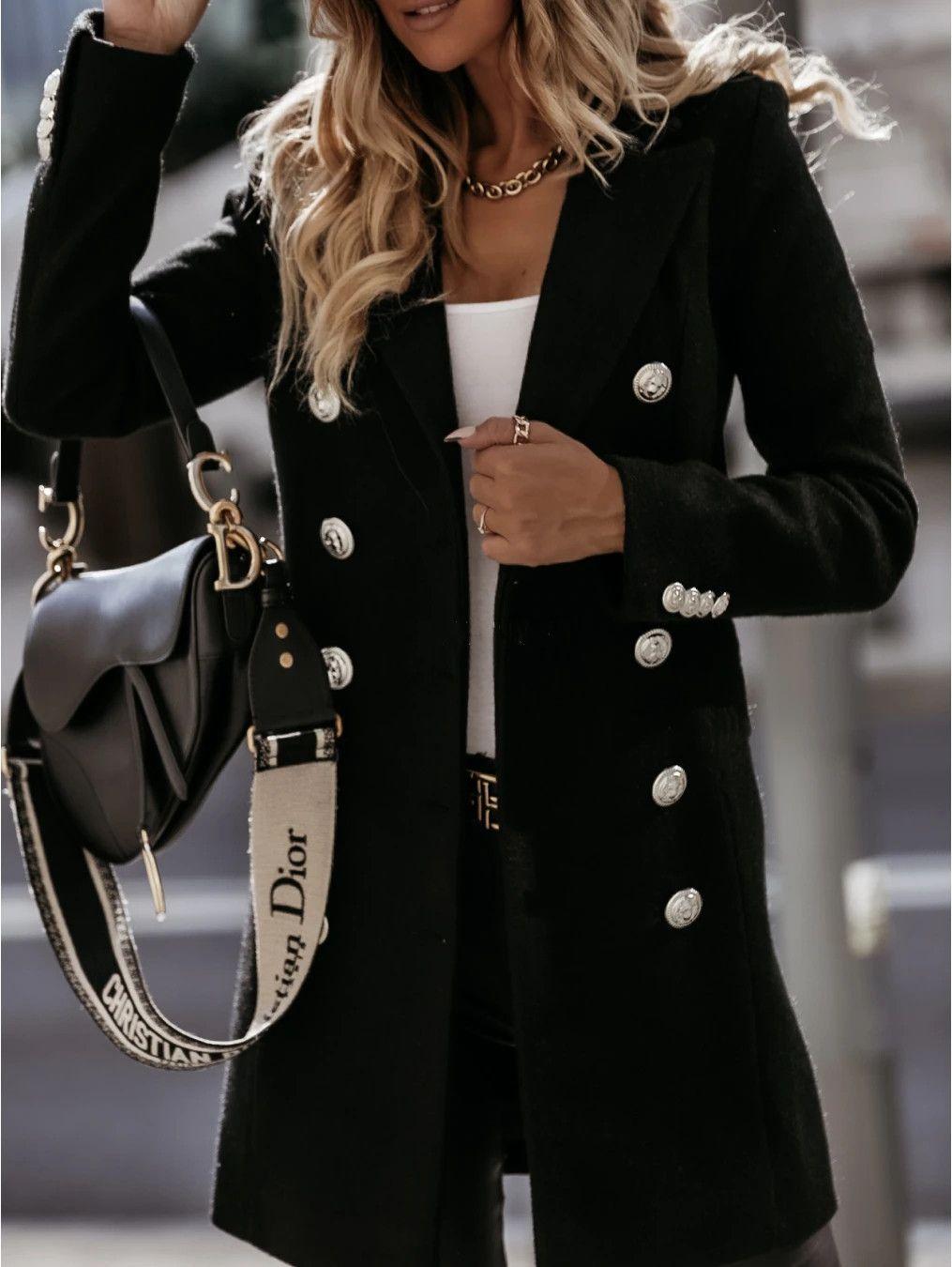 أزياء جديد إمرأة معاطف ارتداء بدلة بأكمام طويلة مع مزدوجة الصدر طوق قميص في الهواء الطلق خندق الشتاء الثلوج معاطف الحجم M-2XL
