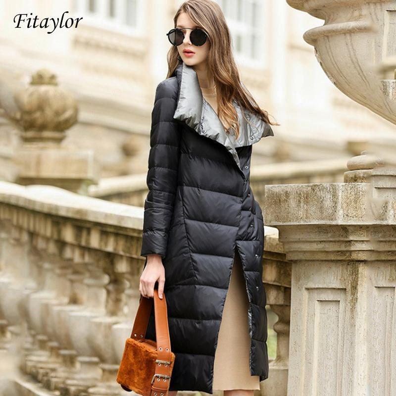 Fitaylor Women Down Jacket Long Coat Winter Warm Double Sided Ultra Light White Duck Down Parka Female Plus Size Snow Outwear 210203