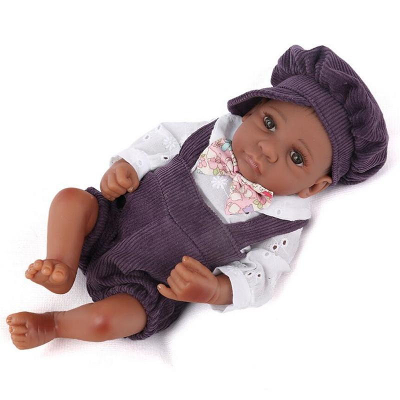 28cm Reborn Baby Doll Sleeping Black Skin Boy Doll Newborn Realistic Lifestyle Toddler Soft Full Silicone For Kid Birthday Gifts