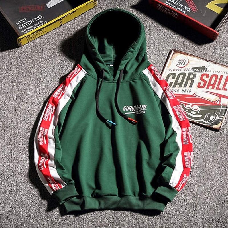 Hip Hop Fashion Hoodie Sweatshirt Men Spring Autumn Streetwear Hooded Sweatshirt Side Striped Hoodies Mens Oversized Hoodie 201113