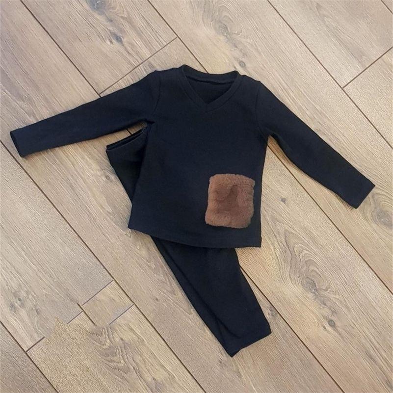 Весна осень дети хлопчатобумажные спящие одежды детские девочки мальчик пижамы наборы 2 шт. Pajama Tops и брюки установлены детские меховые карманные Pajamas 201126