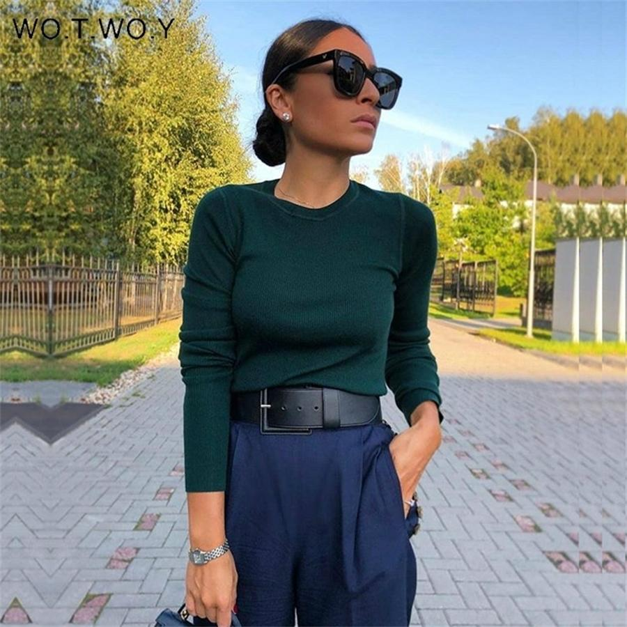 Wotwoy otoño invierno suéter de punto básico mujeres blanco delgado ajuste apto fondo de punto jerseys mujeres casuales suéteres hembra jumper y200909