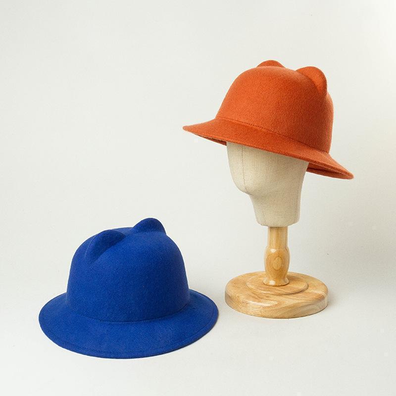 100% lã menina menino criança fedoras chapéu com rato gato tampão de orelha tamanho 52-54cm por 3-8 anos crianças zz-3881