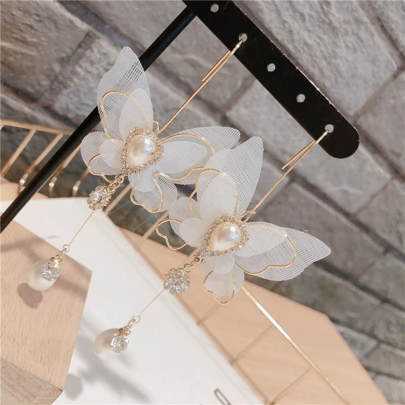 Корейской моды шифон бабочка мотаться серьги Insect Стразы Pearl Длинные серьги Luxulry ювелирных изделий венчания серьги для женщин