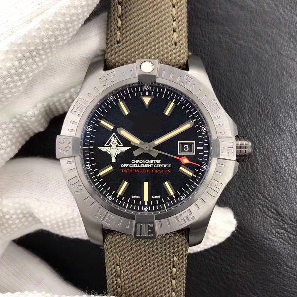 44 мм мужские часы мужские наручные часы Sapphire водонепроницаемый V17311 Ti Titanium DLC чехол черный циферблат алмазы безремени нейлоновый ремешок 2824 автоматическое движение