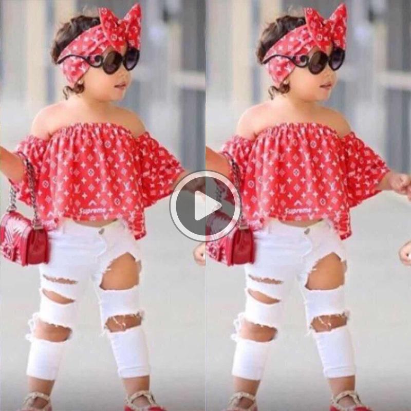 06WE Toddler Kids Summer Girls Clothing Sets Shoulder Top Shirt+Hole Pants+Hairband Girls Clothes set Children Clothes