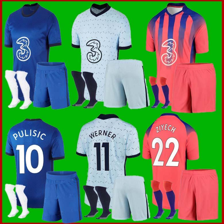 20 21 Pulisik Futbol Formaları Werner ZIYECH 2020 2021 HARTERZ Futbol Gömlek Abraham Kante Chiilwell Erkekler Kiti Jersey Dağı Çocuk Seti
