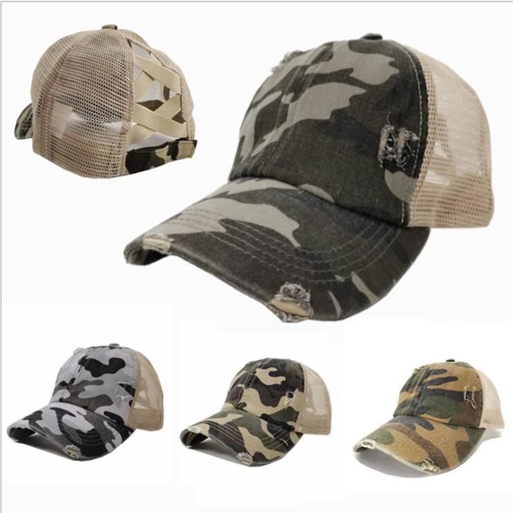 Cordones de béisbol de cola de caballo diseños de camuflaje sombreros hembra leoprad impresión bolas gorras malla transpirabilidad sombrero mujeres adult tapas de bolas ZZC3594