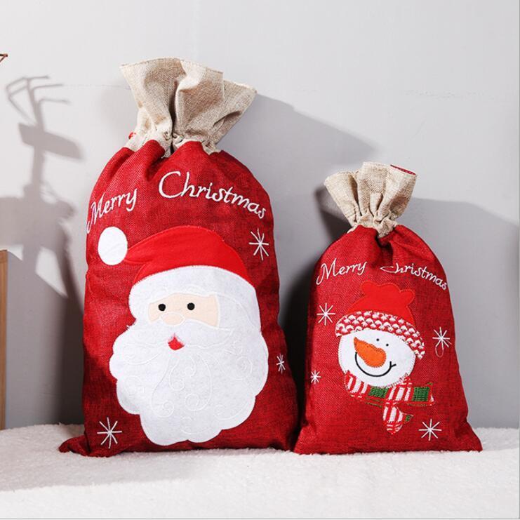 Christmas Gift Bags Santa Sack Drawstring Bag Snowman Santa Claus Kids Candy Bags Linen Printing Handbag Storage Bag Decorations LSK1446