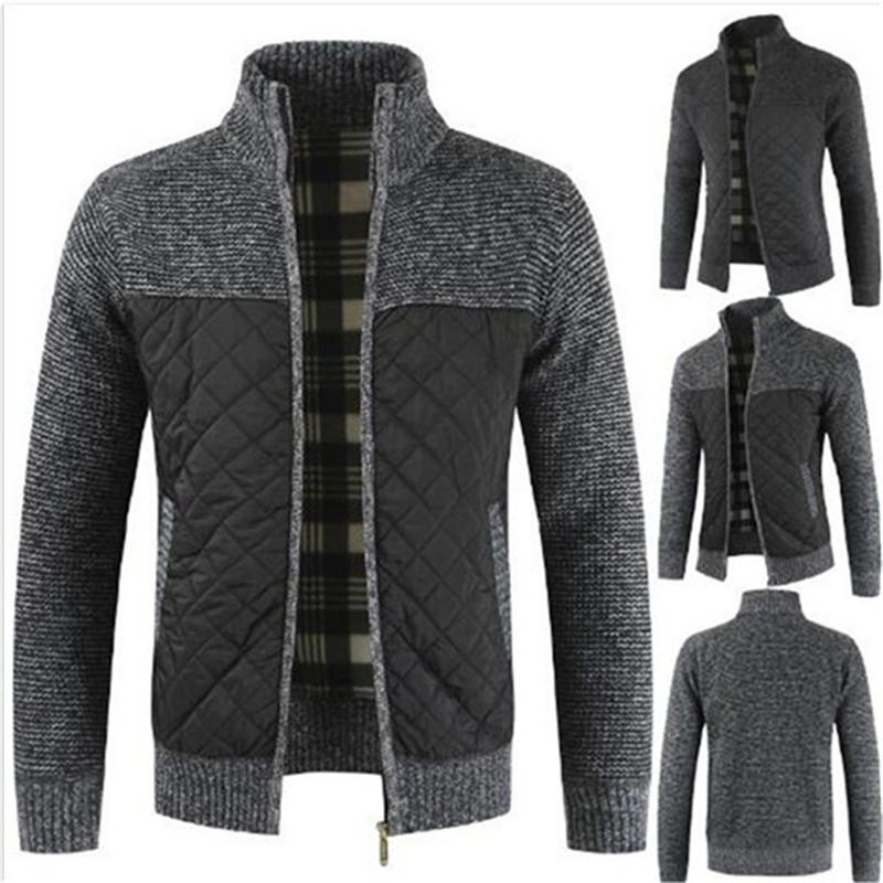Cappotto del rivestimento più velluto Spesso Maglione splicing cardigan con cerniera Autunno Inverno nuovi uomini di Top Outwear Parka