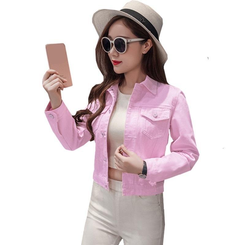 Kadınlar Kaliteli Jeans Overcoat Artı Boyutu Kadın Kısa Ceket Ceket Yaka İnce Denim Gömlek