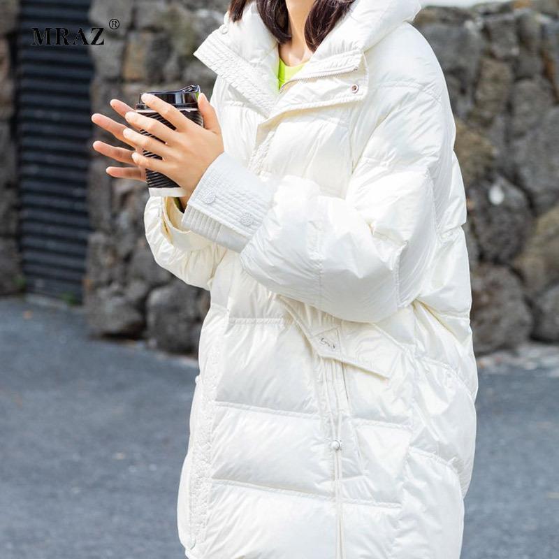 여성용 파사스 겨울 코트 기질 통근자 칼라 화이트 오리 두꺼운 Han Edition 배양 도덕 자켓