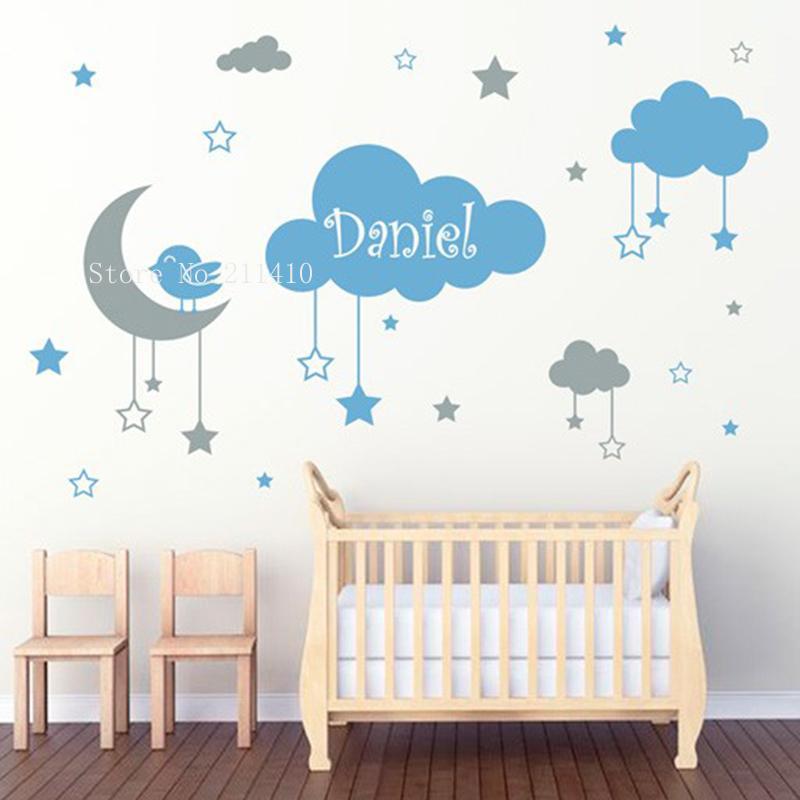 Dos colores niños encantadora etiqueta de la pared colgando nubes estrellas y una luna con un pequeño pájaro decoración bebé infante de infantiles extraíbles yt820 201130