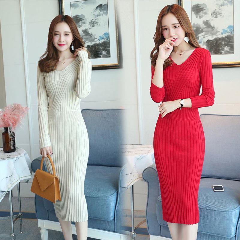 Las mujeres otoño invierno 2021 nuevo de la manera del color sólido con cuello en V vestido de suéter Vestidos Mujer de punto de mujer delgada medio-largo Vestidos V412