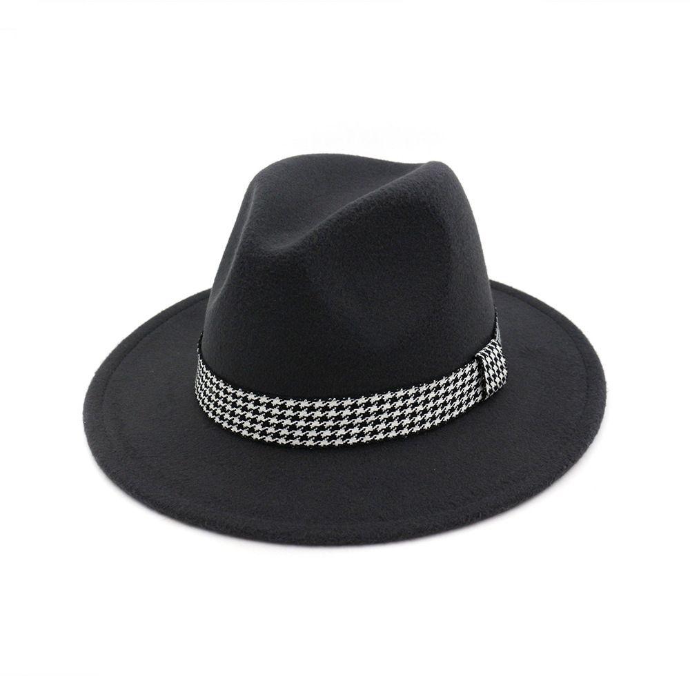 Femme de laine de laine à plat pour hommes Vintage Panama Fedora Chapeaux Fédora Casquette de jazz avec ruban Hommes Femmes Trilby Derby Gambler Hat