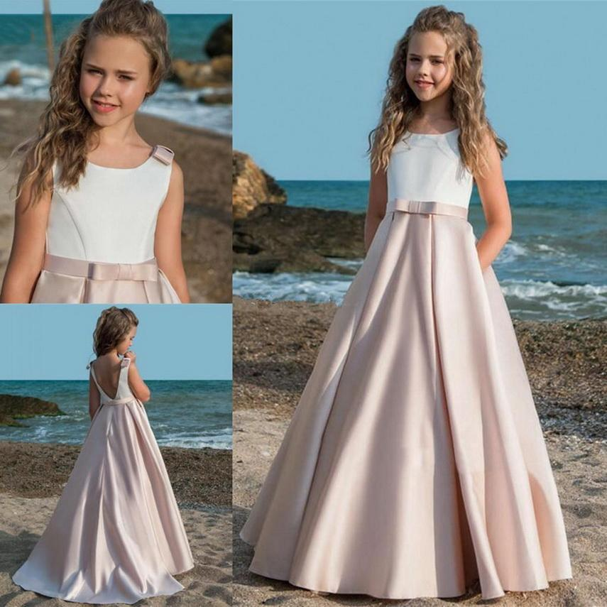 Ragazze di fiore Raso Abiti con telaio dell'arco Prima Comunione Dress For festicciola bambini compleanno Dress Toddlers formale Pageant Gown