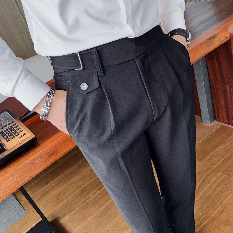 Corea Moda Casual Pantalones rectos Versátil Negro de negocios británica Delgado Oficina de vestir Pantalones Pantalones de los hombres de la correa Diseño blanca