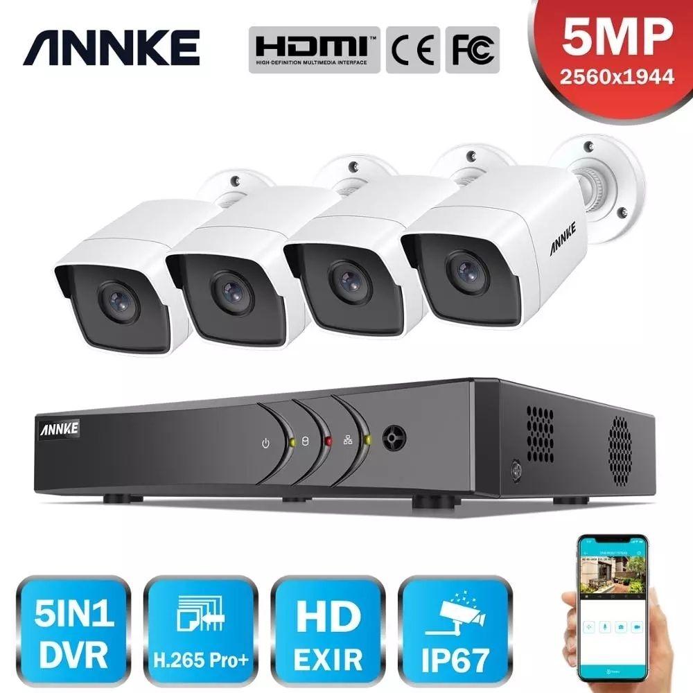 Annke H.265 + 5MP Lite Ultra HD 8CH DVR CCTV Güvenlik Sistemi 4 adet 5MP IP67 Weenproof Dışarıda Açık 5MP Kamera Video Gözetim Kiti LJ201205