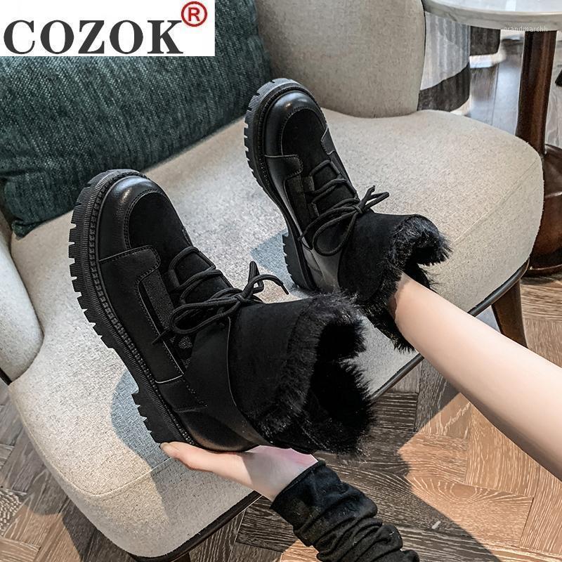 Çizmeler Lolita Kadın Ayakkabı Lüks Tasarımcı Düz Topuk Lace Up Boots-Kadınlar Yuvarlak Ayak Kış Ayakkabı Avustralya Bayanlar Kama Siyah1