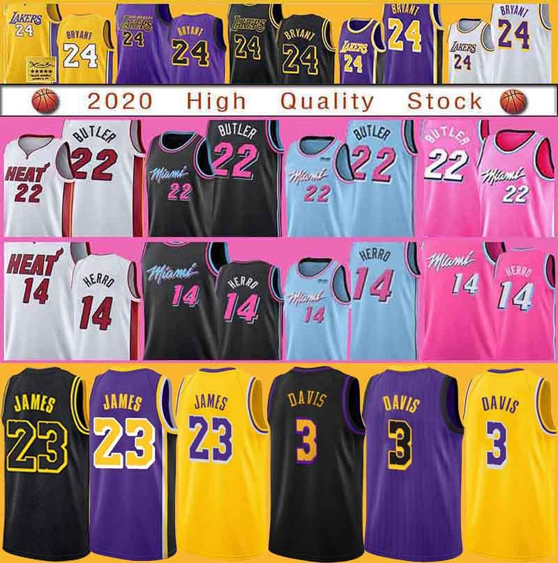 LosAngelesLakersBryant basketbol forması LeBron 23 James Anthony 3 Davis MiamiSıcaklık14 Herro Jimmy 22 Butler Tyler