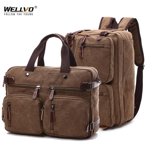 Men Canvas Briefcase Travel Bags Suitcase Classic Messenger Shoulder Bag Tote Handbag Big Casual Business Laptop Pocket XA138ZC Q1104