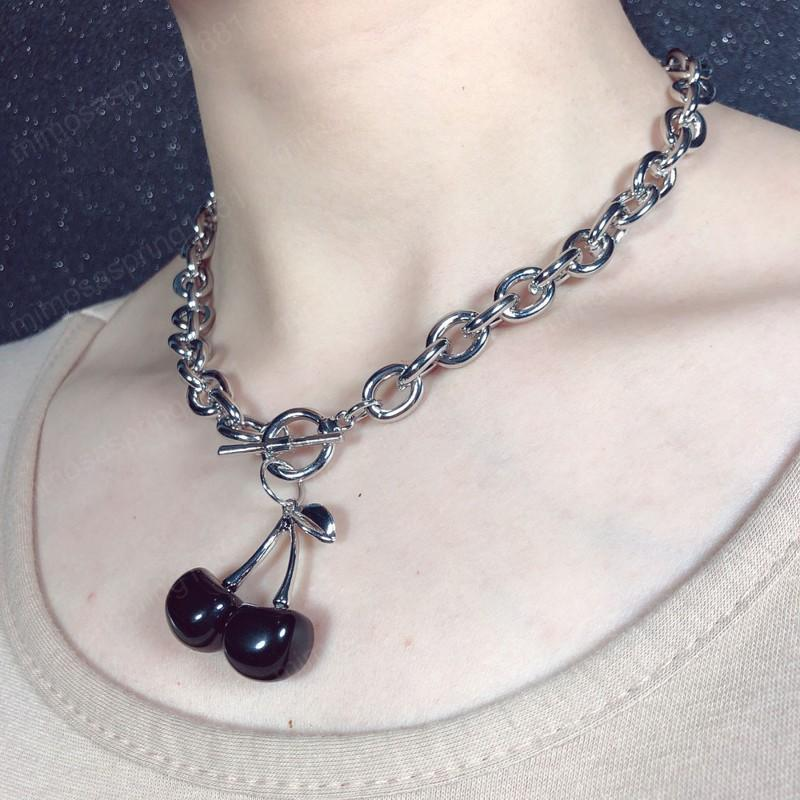 Charm Cute Cherry Choker Necklace for Women Statement Stainless Steel Side Chain Pendant Crystal Collar Girls Hiphop Jewelry