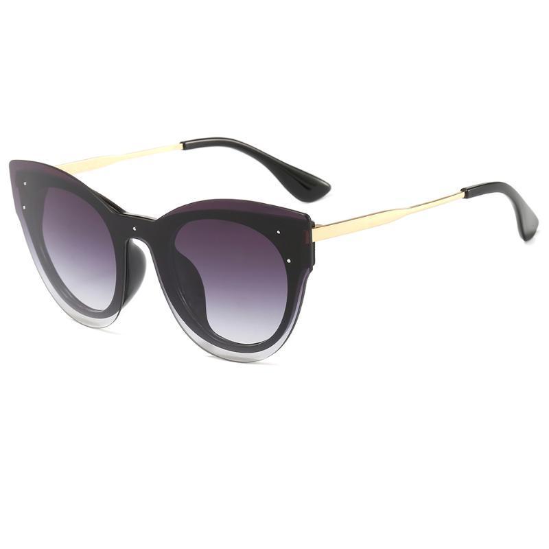 Güneş Gözlüğü Bingking Kadınlar Cateye Yuvarlak Marka Tasarım Moda Retro Alaşım Çerçeve Ayna Plastik 8085 UV400 Koruma Gözlük