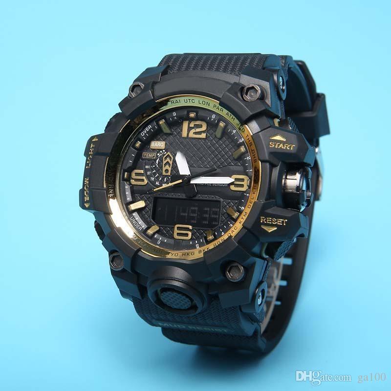 Gorący sprzedawanie zwykłego sportu męskiego zegarek LED cyfrowy zegarek GWG100 PU pasuje duża tarcza