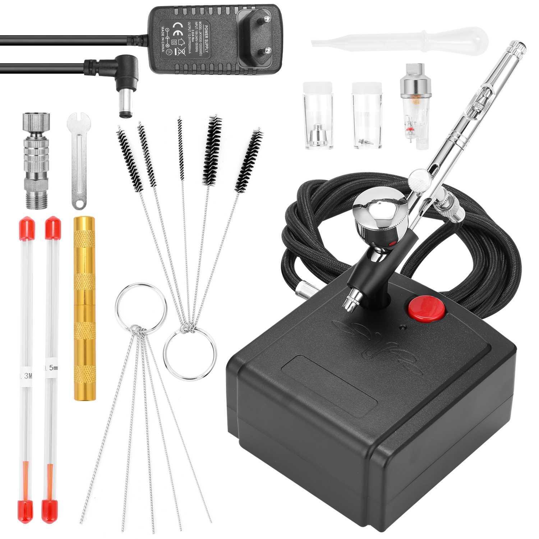 Profi Airbrush Set für Modellbau-Kunst-Malerei mit Air Compressor Power Adapter Airbrush-Halter 0,3mm Düse Werkzeug