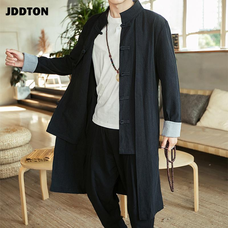 JDDton Trench Uomo Cappotto Casual Falso Due PCS Vintage Breakbreaker Solid Long Outwear Style Style Retro Standing Collar Streetwear Je1841