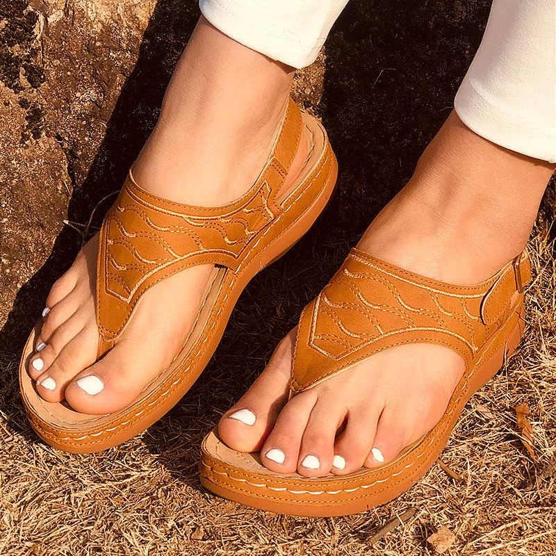 MCCKLE Women's Sandals Ladies Clip Toe Wedges Thong Shoes 2021 Fashion Embroidery Platform Buckle Casual Female Beach Shoes C0203