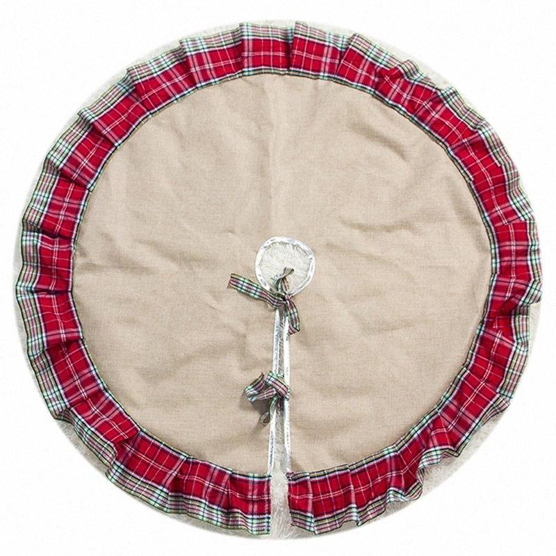 Plaid Christmas Tree Skirt Ruffle Edge Xmas Tree Skirt Christmas Decorations For Home New Year Gifts a3F6#