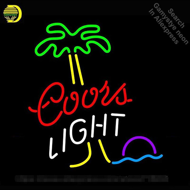 Enseignes lumineuses pour Coors Light Palm Tree tubes néon signe Ampoules de verre artisanats Décore bière mur signes lumière Chambre fait à l'ordre