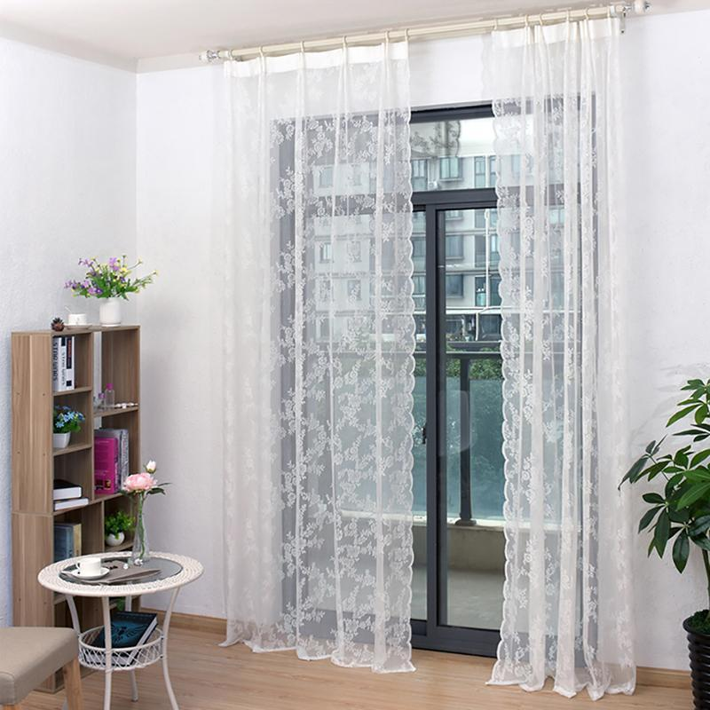 1Pc Lace Curtains Tulle Voile Curtain Insect Bed Canopy Netting Drape Panel Leaf Door Window Sheer White Curtain For Living Room