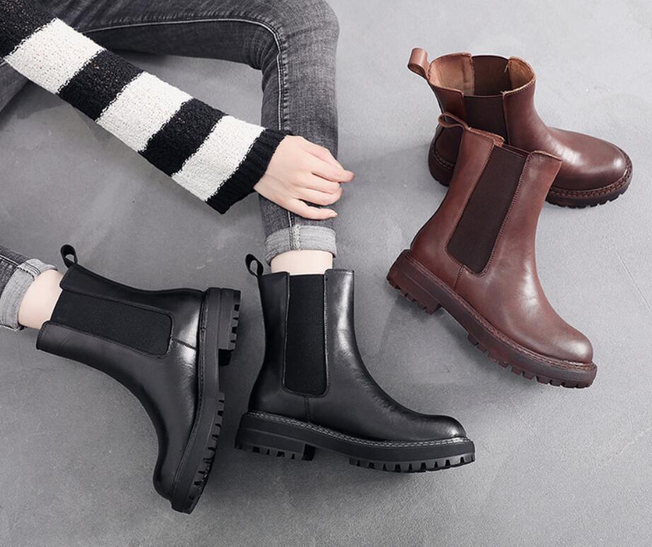 Artı boyutu Martens botlar deri sınır - ötesi Avrupa ve Amerika kadın üst katman sığır derisi ayakkabı tatil gift01