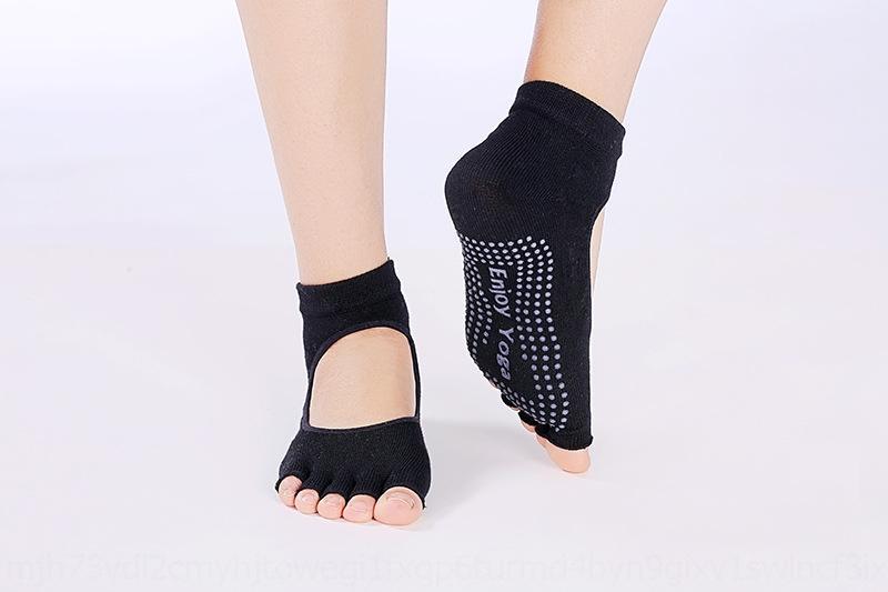 vazamento de Yoga ponta toe vazamento peito do pé cinco meias de dedo feminino yoga volta das mulheres dedo do pé das mulheres dividir anti-derrapante cinco meias dedo abrir bac nua dedos