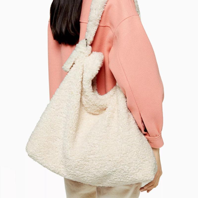 Für Schulter Design Tasche Reise Handtasche Lammwolle Multifunktions Pelz Faux Marke Tasche Kapazität Tasche Weibliche Eimer Luxus Große Frauen IXLTN