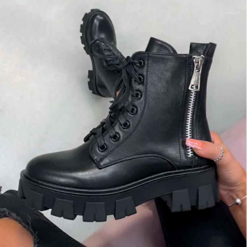 Yuvarlak Burun Ayakkabı Kış Çizmeler Bayan Ayak Bileği Patik Kadınlar Lüks Tasarımcı Fermuar Çizmeler-Kadınlar 2020 Düşük Sonbahar Bayanlar Rubber1