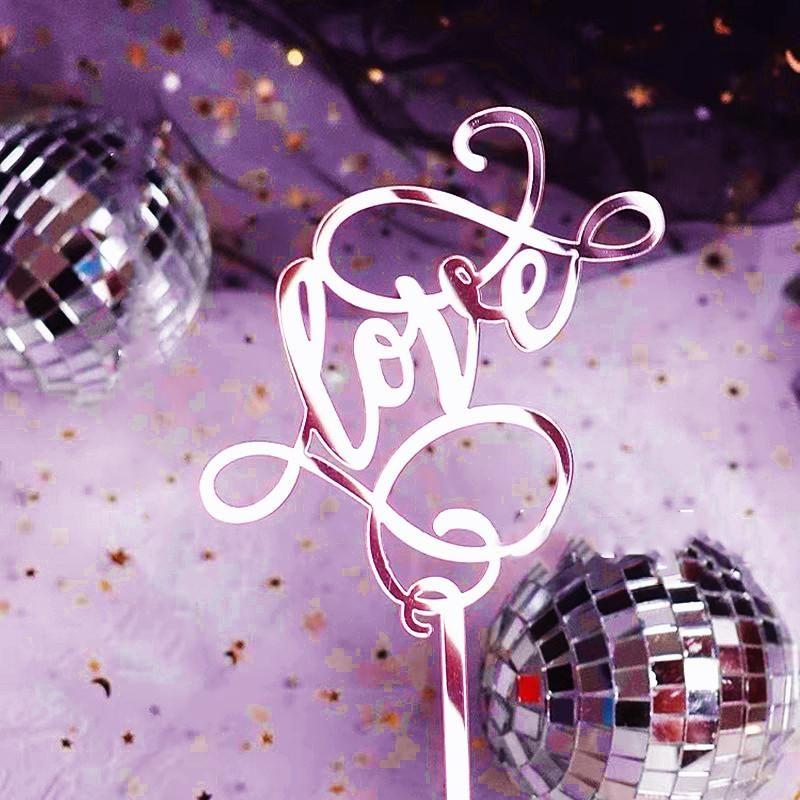 Розовое золото любовь торт Топпер свадебный торт партия Акриловая флаг Hen Party Десерт украшения Свадебные Исповедь Топпер Поставки