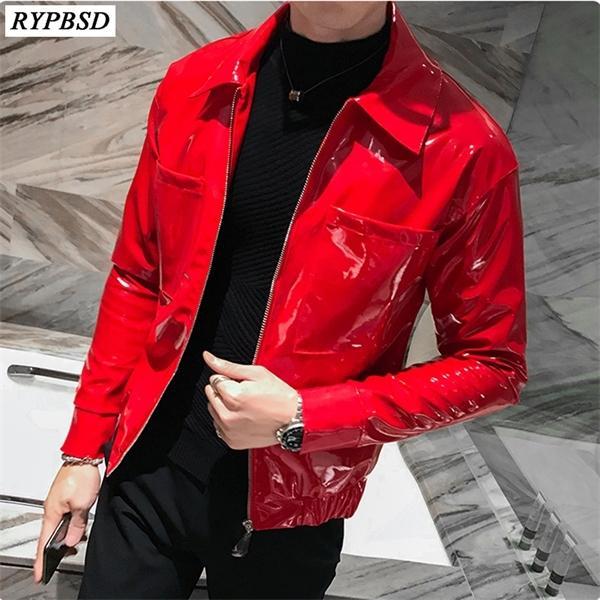 Rote PU-Kunst-Leder-Oberbekleidung Mode Lässige Langarm-Down-Kragen-Reißverschluss-Bikerjacke Männer Schwarz M-3XL C1103