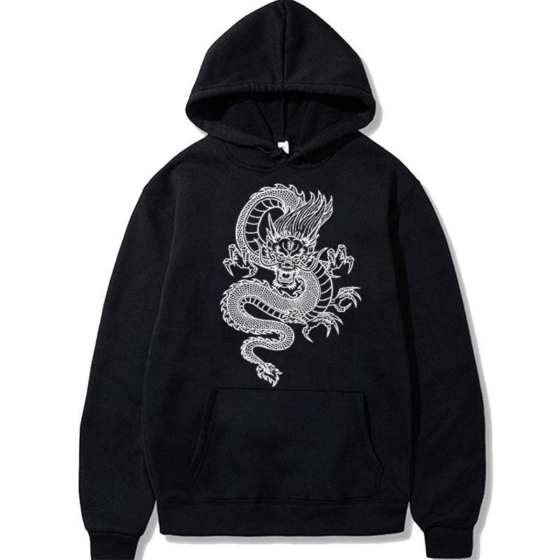 Vintage Sweats à capuche dragon chinois Hommes 2020 Imprimer Hoodie Rue Hip Hop Casual Sweat hommes surdimensionnée lui-même Sweat Hoodies X1022