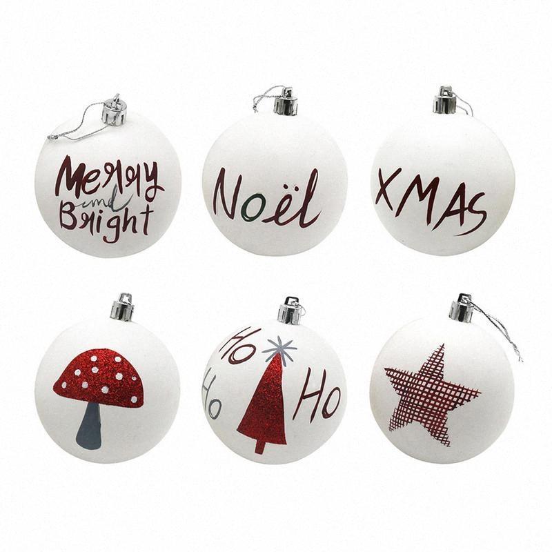 İyi Noeller Beyaz Topu Noel ağacı Süsleme Yuvarlak Ağacı Noel Toplar KqQe #