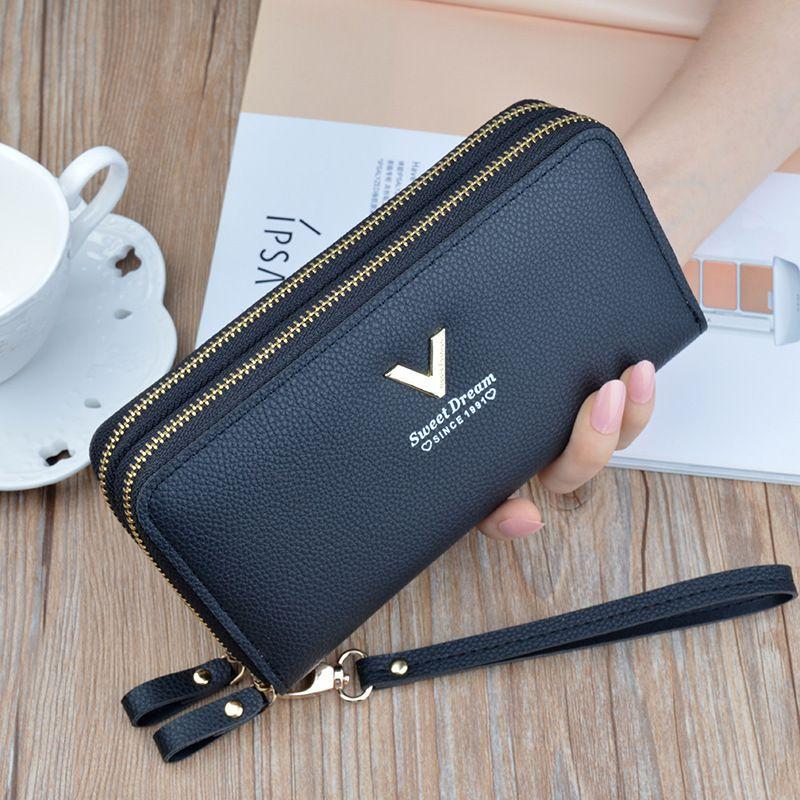 Women's wallet fashion V Ladies mobile phone long new clutch star Double zipper hand strap bag Multiple color 697 Q1106