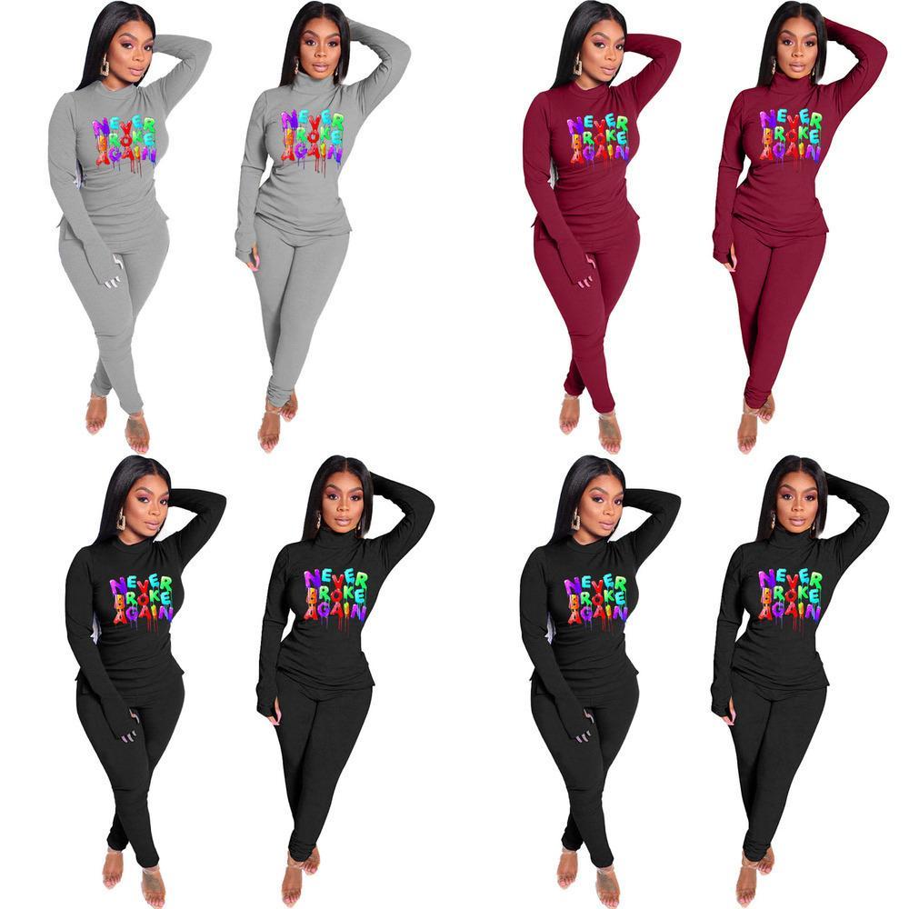 Women Tracksuit Designer T-shirt Legging Pants Outfits Never Broken Again Letters Tops Trouser Suit Fashion Two Piece Clothing Sets GG11404